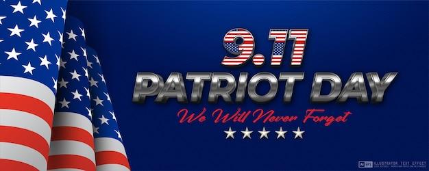 9 11 patriot day usa n'oubliez jamais le modèle de bannière