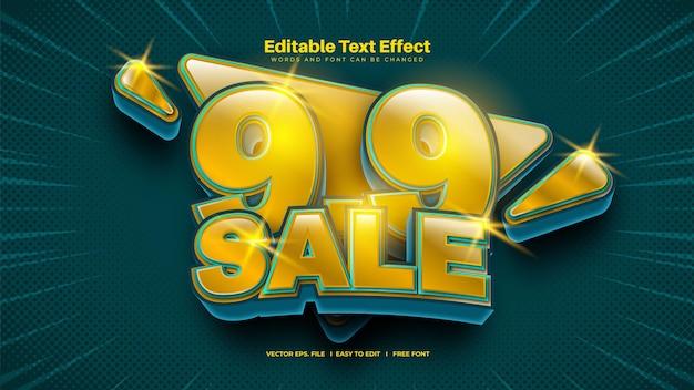 9.9 effet de texte de promotion de vente