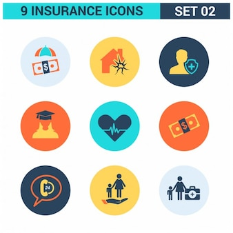 9 icônes d'assurance set