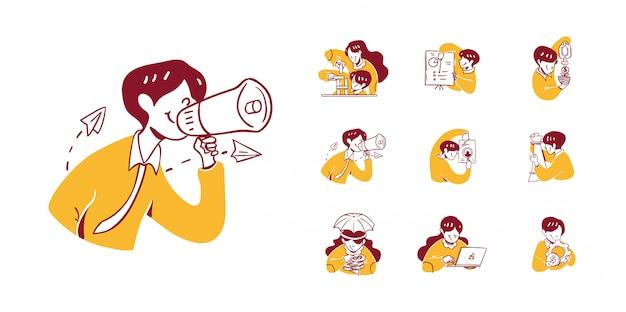 9 illustration d'icône affaires et finances dans le style de conception dessiné à la main de contour. homme, femme, résoudre, puzzle, faire, présentation, argent, grandir, publication, recherche, stratégie, échecs, gestion, protection
