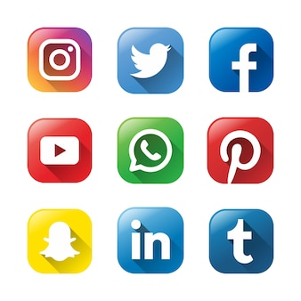 9 modèle de conception de logo de médias sociaux.