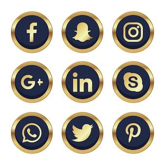9 réseaux sociaux avec des détails dorés