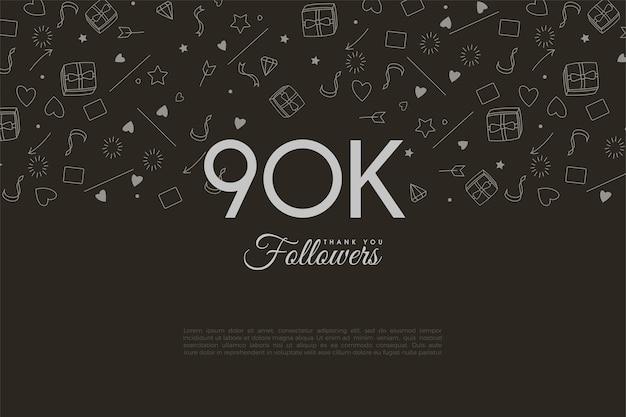 90 000 abonnés avec une image de fond illustrée.