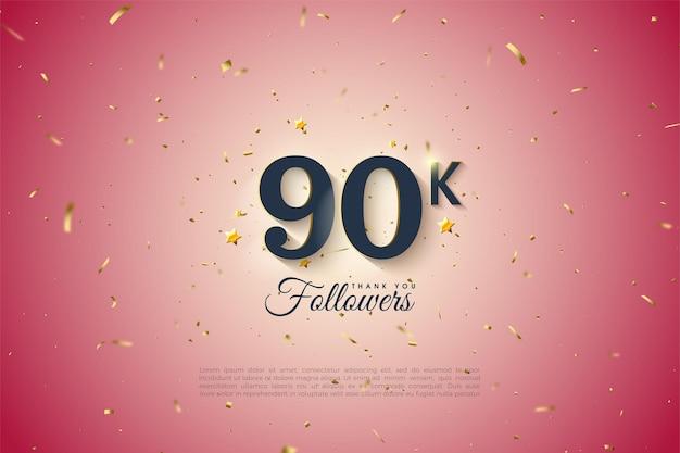 90 000 adeptes avec un fond rose gradué.