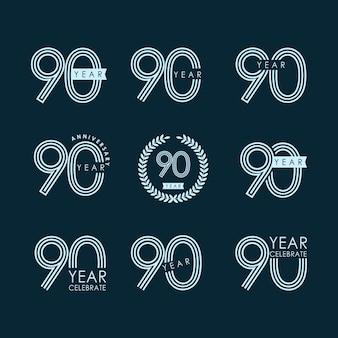 90 ans anniversaire set celebration vector design de modèles