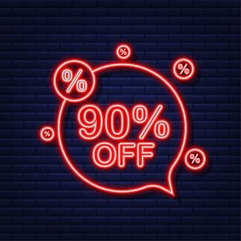 90 pour cent de réduction sur la bannière de réduction de vente. icône néon. étiquette de prix de l'offre de remise. illustration vectorielle.