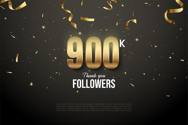 900 000 abonnés avec des numéros d'or et une goutte de ruban d'or