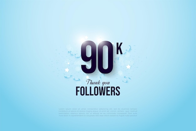 90k adeptes avec des chiffres et des bibelots de fête.