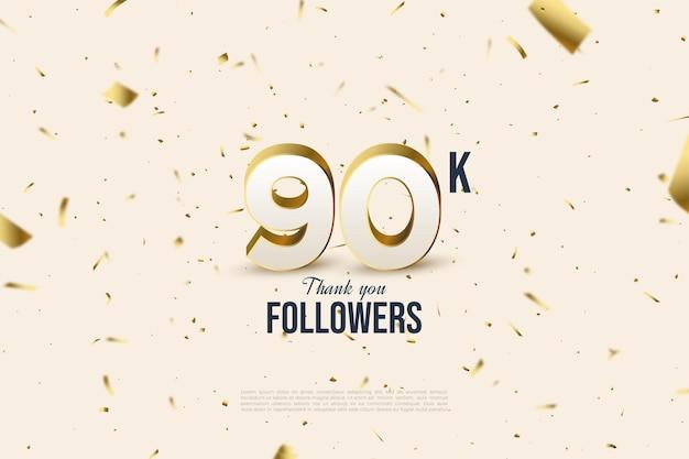 90k adeptes avec des chiffres et une feuille d'or dispersés.