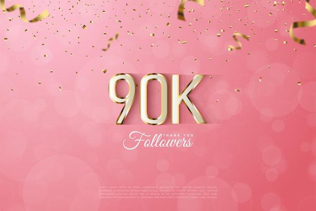 90k adeptes avec illustration de nombres délimités en or fantaisie.