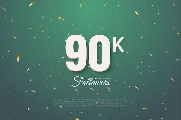 90k adeptes avec des nombres sur fond de feuille verte.
