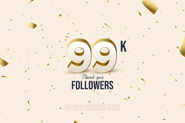 99 000 abonnés avec des chiffres épars et une feuille d'or