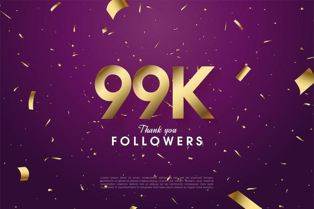 99 000 abonnés avec des chiffres et une feuille d'or sur fond violet
