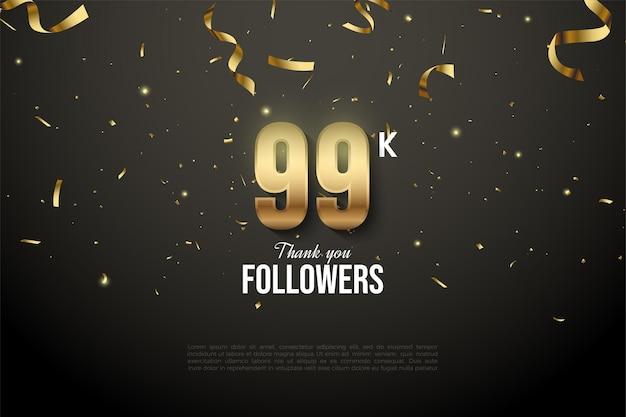 99 000 abonnés avec des chiffres et une goutte de ruban d'or