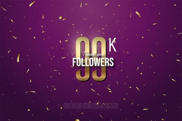 99 000 abonnés avec des chiffres et des points en or sur fond violet