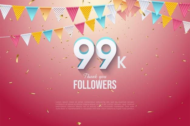 99 000 abonnés avec des numéros 3d et des drapeaux colorés