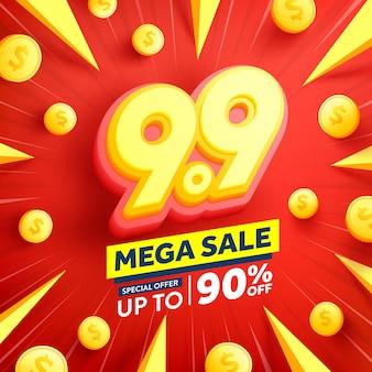 99 journée de shopping affiche ou bannière avec des pièces d'or
