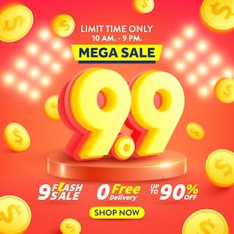 99 jours de shopping affiche ou bannière avec des pièces d'or volantes