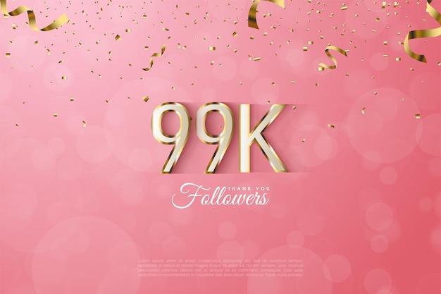 99k adeptes avec bordure en chiffres dorés fantaisie