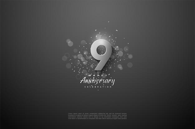 9e anniversaire avec un grand nombre d'argent 3d.