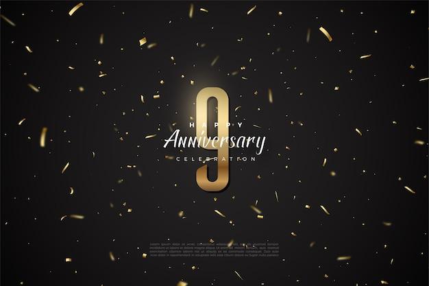 9e anniversaire avec numéro d'or