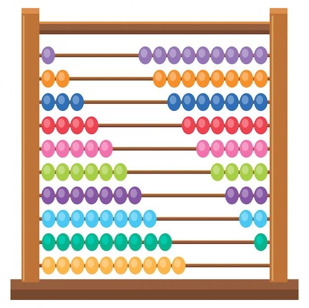 Abacus en bois coloré sur fond blanc
