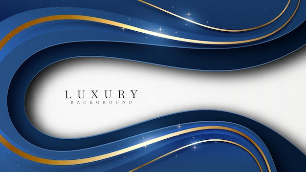 Abat-jour bleu sur blanc avec des éléments dorés élégants. papier de fond de luxe réaliste coupé style 3d concept moderne. espace pour coller du texte. illustration vectorielle pour la conception.