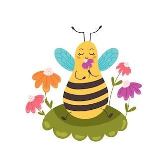 Abeille assise sur une pelouse fleurie. un bourdon mignon appréciant le parfum d'une fleur. animal drôle de caractère. illustration vectorielle