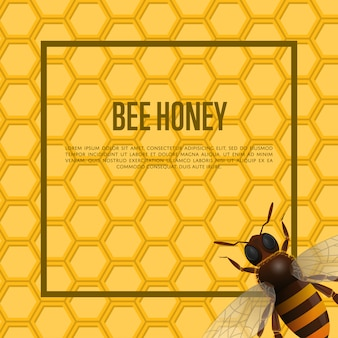 Abeille sur bannière en nid d'abeille