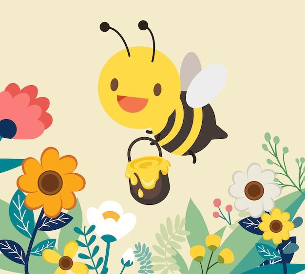 Abeille à caractère avec fleur