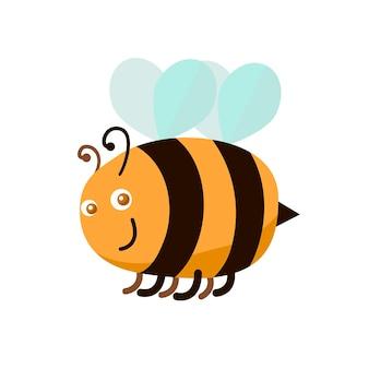 Abeille de couleur de dessin animé symbole d'insecte mignon et drôle de la conception de style plat de mascotte de travailleur. illustration vectorielle