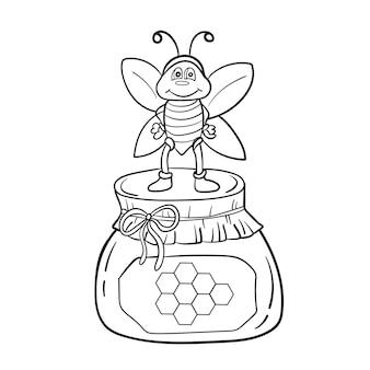 Abeille de dessin animé avec du miel. illustration vectorielle noir et blanc pour cahier de coloriage pour enfants