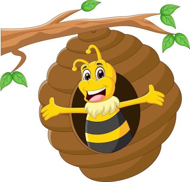 Abeille de dessin animé mignon agitant dans la ruche