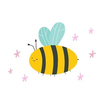 Abeille de dessin animé mignon avec des fleurs vector illustration plate