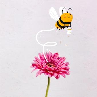 Abeille dessiné main mignon avec un pot de miel