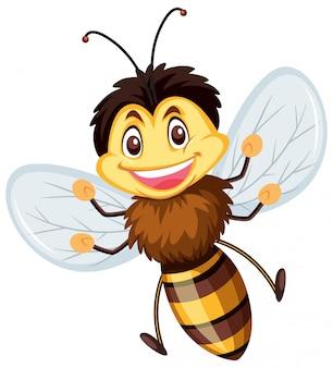 Une abeille heureuse sur fond blanc