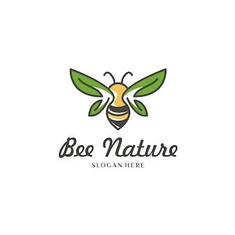Abeille jaune sur logo blanc