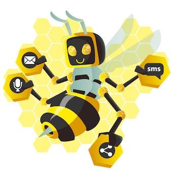 Abeille jaune robot
