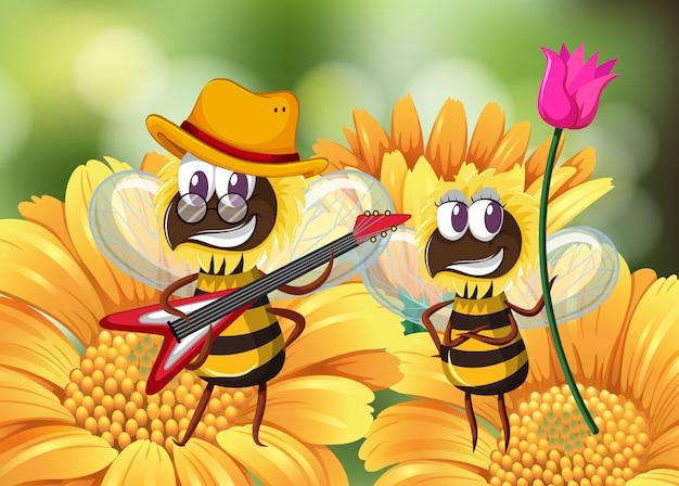 Abeille jouant de la guitare sur une fleur