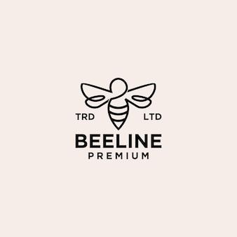 Abeille ligne logo vintage icône illustration