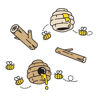 Abeille miel dessin animé ruche peigne dessin animé