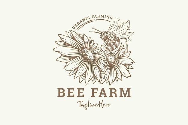 Abeille à miel dessinée à la main avec des fleurs