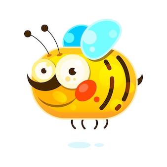 Abeille à miel sur fond blanc