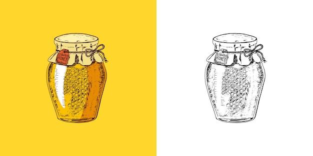 Abeille et miel hydromel et floral et apiculture vecteur gravé à la main vintage vieux croquis pour
