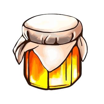 Abeille miela pot de miel vecteur dessiné à la main