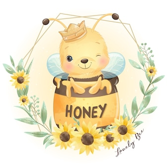 Abeille mignon doodle avec illustration florale
