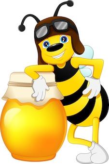 Abeille mignonne avec du miel isolé