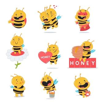 Abeille mignonne avec jeu de personnages de dessins animés de miel isolé sur fond blanc.