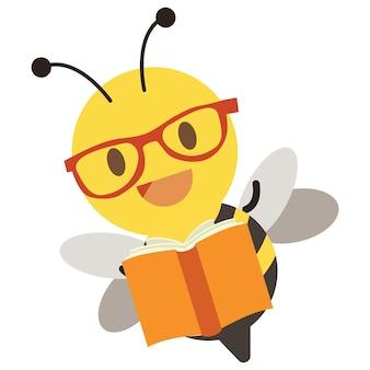 Abeille mignonne portant des lunettes et tenant un livre sur fond blanc illustation