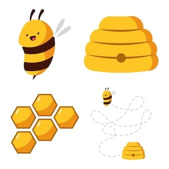 Abeille mignonne, ruche, nid d'abeille avec jeu de dessin animé de miel isolé sur fond blanc.